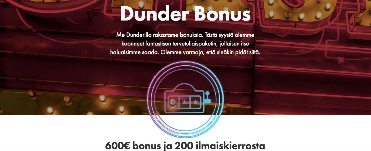 Dunder casinobonukset