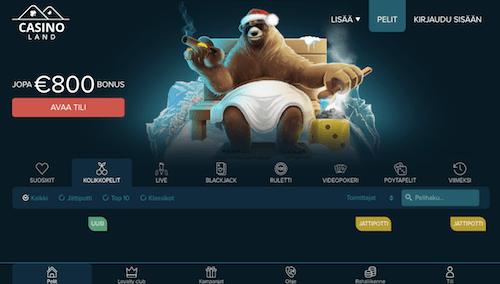 CasinoLand Nettikasino Arvostelu ja Kokemuksia Screenshot