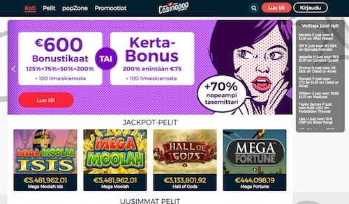CasinoPop Arvostelu ja Kokemuksia Screenshot