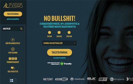 No Account Casino Kokemuksia ja Arvostelu Screenshot